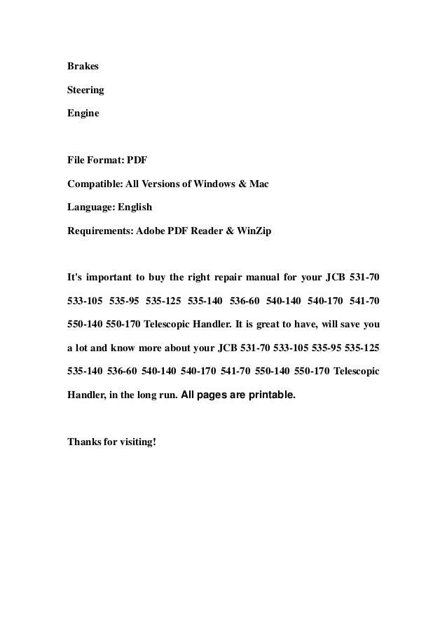 Jcb 531 70 533-105 535-95 535-125 535-140 536-60 540-140 540