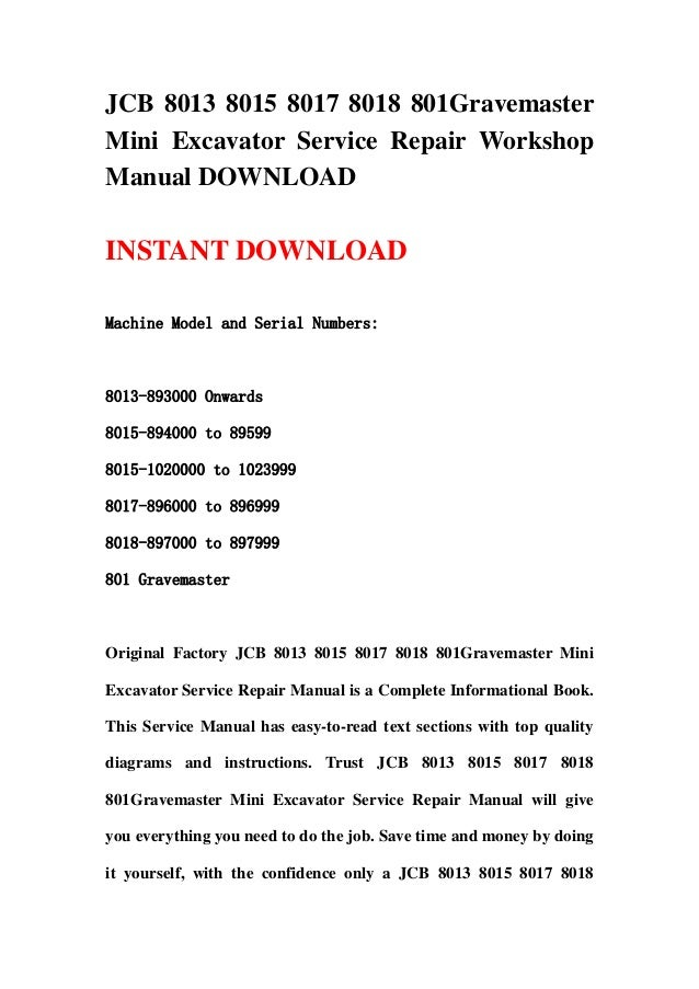 Jcb 8013 8015 8017 8018 801 Gravemaster Mini Excavator Service Repair U2026