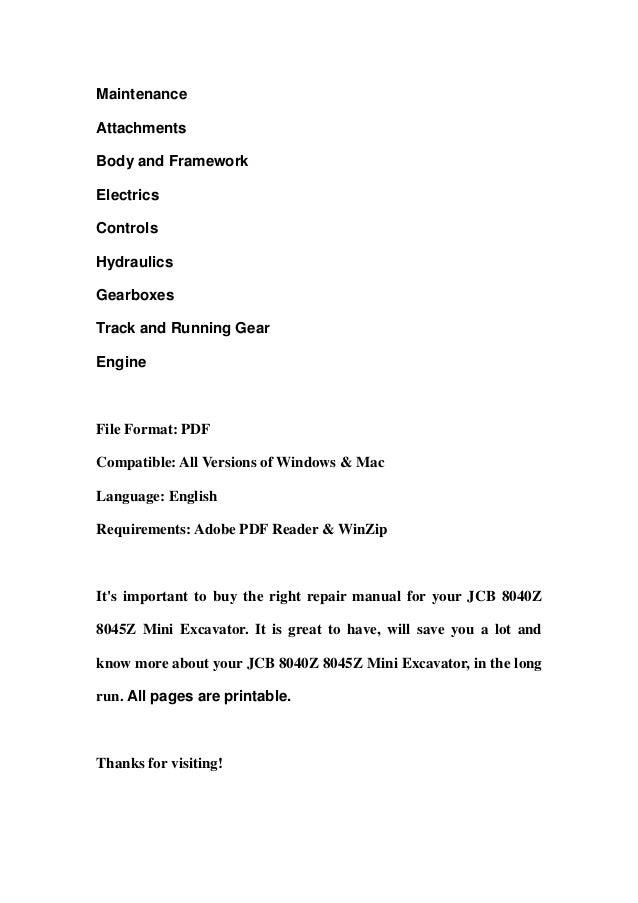 jcb service 8040z 8045z mini excavator manual shop service 8040 z 8045 z repair book