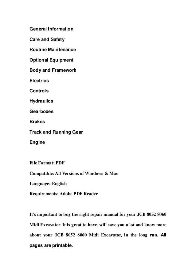 Jcb 8052 8060 midi excavator service repair workshop manual download