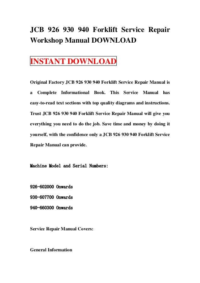 jcb 926 930 940 forklift service repair workshop manual jcb 926 930 940 forklift service repairworkshop manual instant original factory jcb 926 930 940 forklift