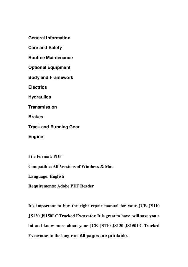 Jcb Js110 Js130 Js150 Lc Tracked Excavator Service Repair Workshop Ma U2026