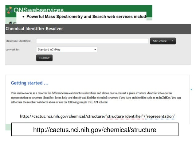 http://onswebservices.wikispaces.c om/ http://cactus.nci.nih.gov/chemical/structure