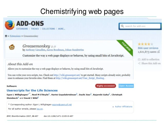 Chemistrifying web pages
