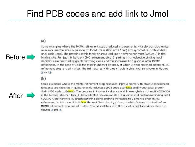 Find PDB codes and add link to Jmol Before After