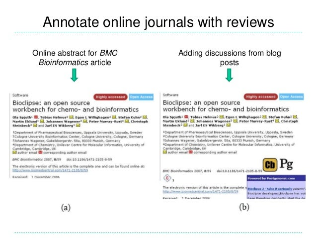 Annotate online journals with reviews Online abstract for BMC Bioinformatics article Adding discussions from blog posts