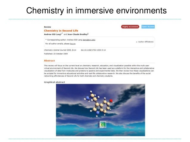 Chemistry in immersive environments