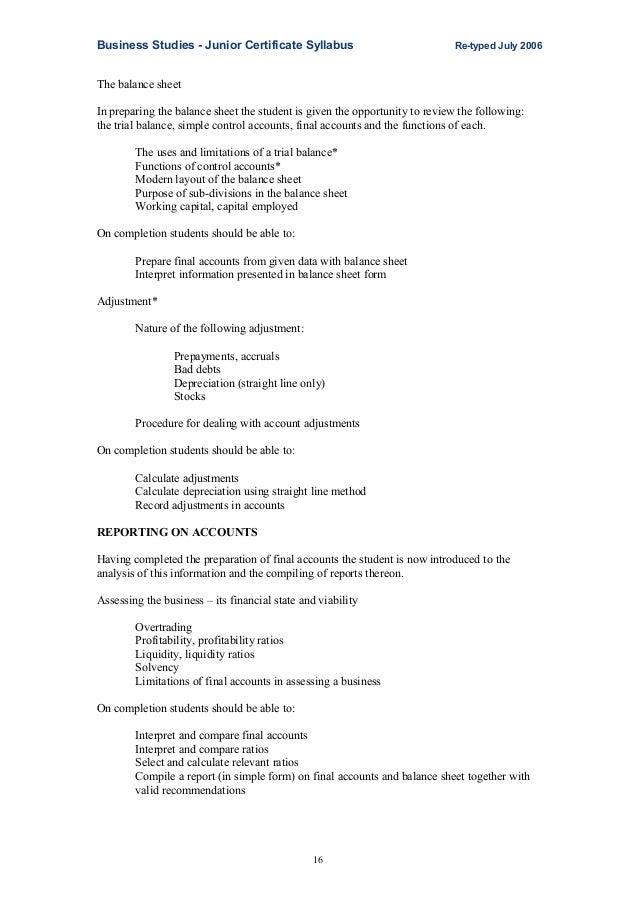 junior cert business studies report writing