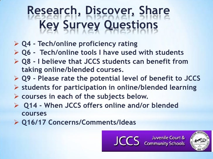 Research, Discover, Share<br />Key Survey Questions<br />Q4 - Tech/online proficiency rating<br />Q6 - Tech/online tools ...