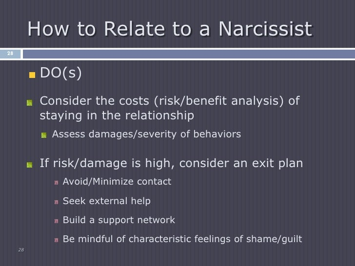 Stay away from narcissists