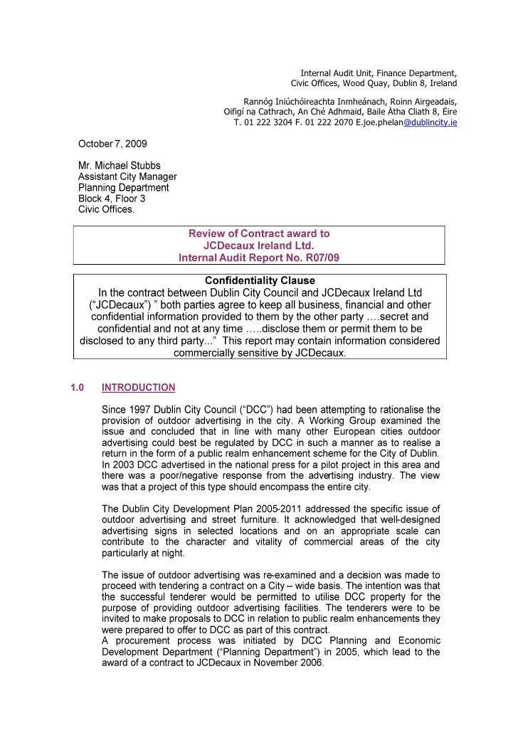 Internal Audit Unit, Finance Department,                  Civic Offices, Wood Quay, Dublin 8, Ireland        Rannóg Iniúch...