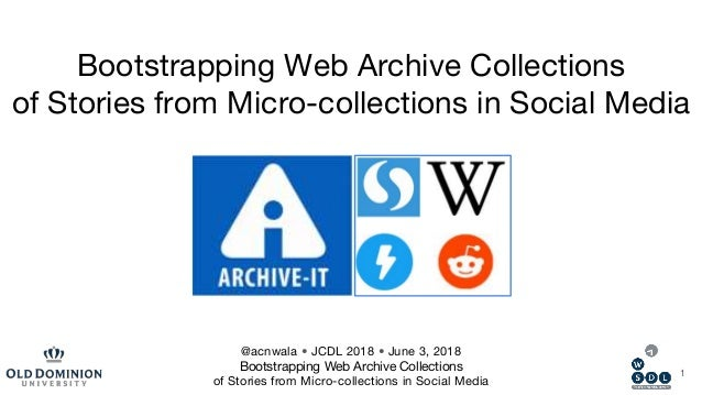 Bootstrapping Web Archive Collections of Stories from Micro-collections in Social Media 1 @acnwala • JCDL 2018 • June 3, 2...