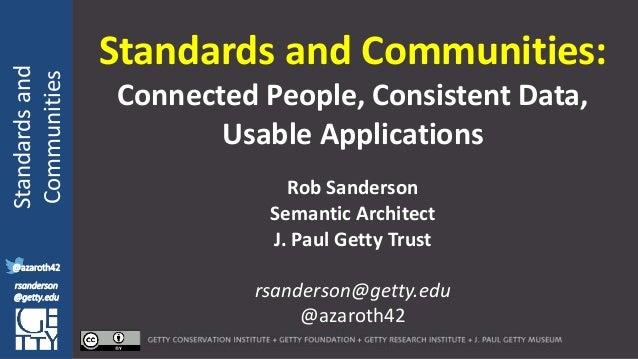 @azaroth42 rsanderson @getty.edu IIIF:Interoperabilituy Standardsand Communities @azaroth42 rsanderson @getty.edu Standard...