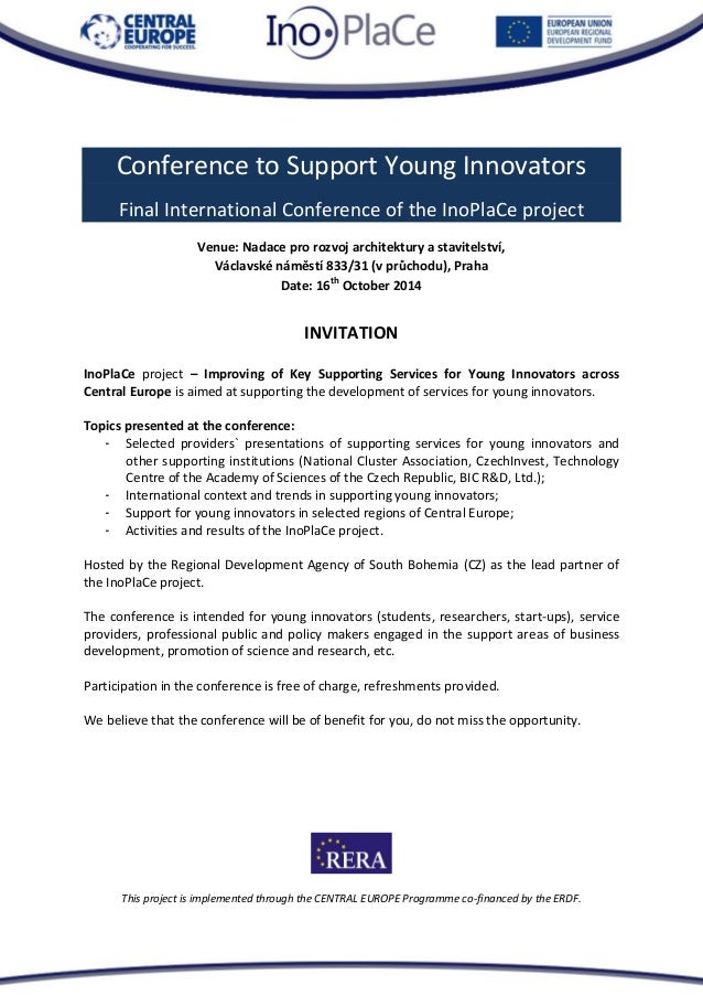 This project is implemented through the CENTRAL EUROPE Programme co-financed by the ERDF.  Conference to Support Young Inn...