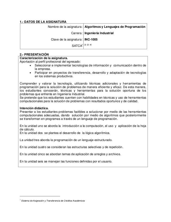 1.- DATOS DE LA ASIGNATURA                             Nombre de la asignatura : Algoritmos y Lenguajes de Programación   ...