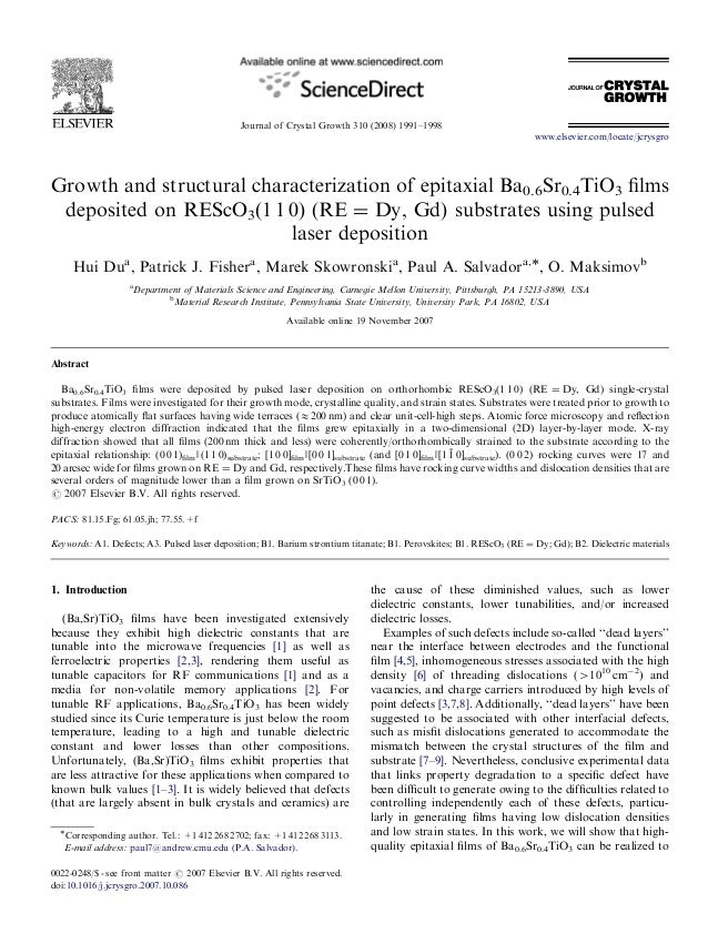 ARTICLE IN PRESS                                              Journal of Crystal Growth 310 (2008) 1991–1998              ...