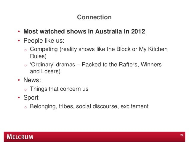 Connection • Most watched shows in Australia in 2012 • People like us: o Competing (reality shows like the Block or My Kit...