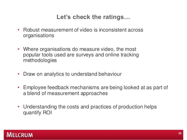 """Let""""s check the ratings… • Robust measurement of video is inconsistent across organisations • Where organisations do measu..."""