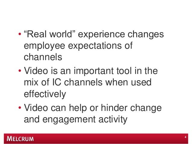 """• """"Real world"""" experience changes employee expectations of channels • Video is an important tool in the mix of IC channels..."""