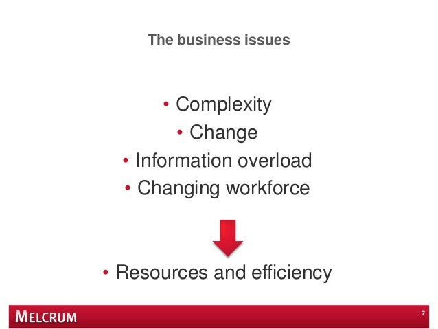 The business issues • Complexity • Change • Information overload • Changing workforce • Resources and efficiency 7