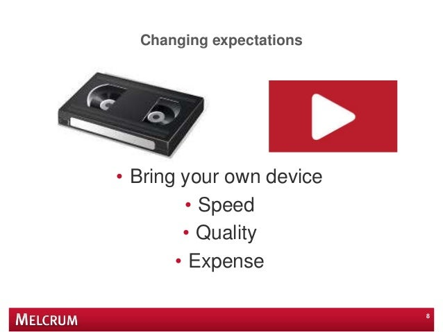 Changing expectations • Bring your own device • Speed • Quality • Expense 8
