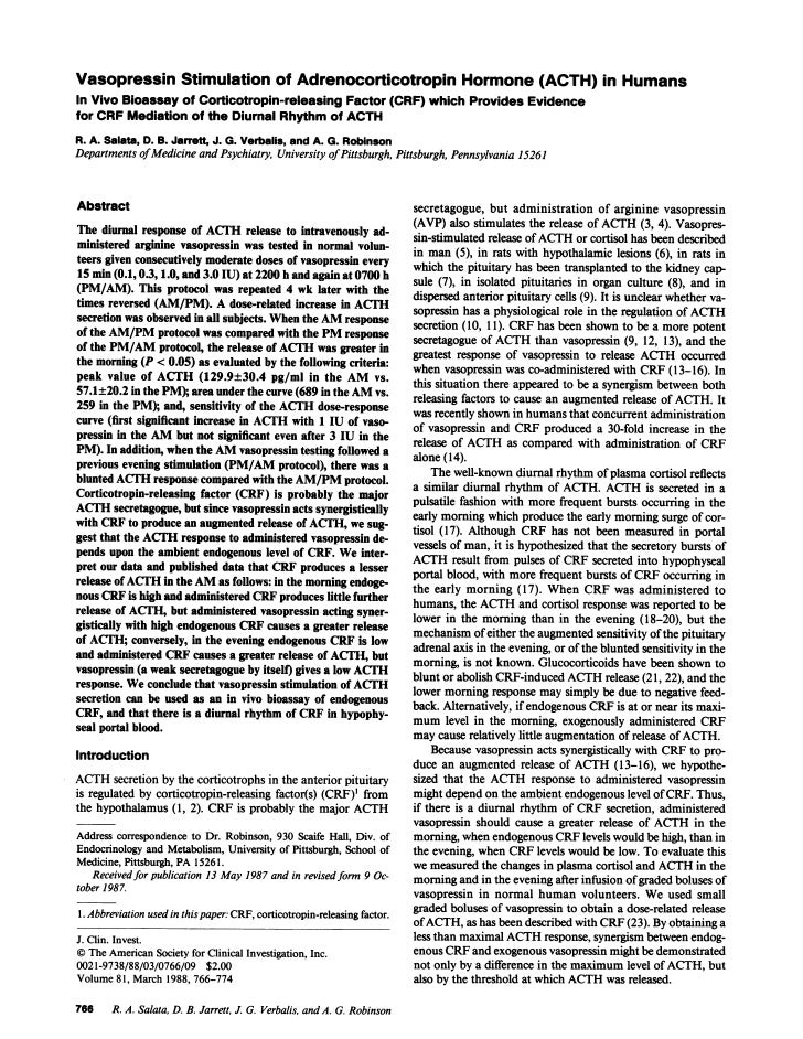 Vasopressin Stimulation of Adrenocorticotropin Hormone (ACTH) in HumansIn Vivo Bioassay of Corticotropin-releasing Factor ...