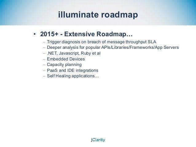 illuminate roadmap • 2015+ - Extensive Roadmap… – Trigger diagnosis on breach of message throughput SLA – Deeper analysis ...