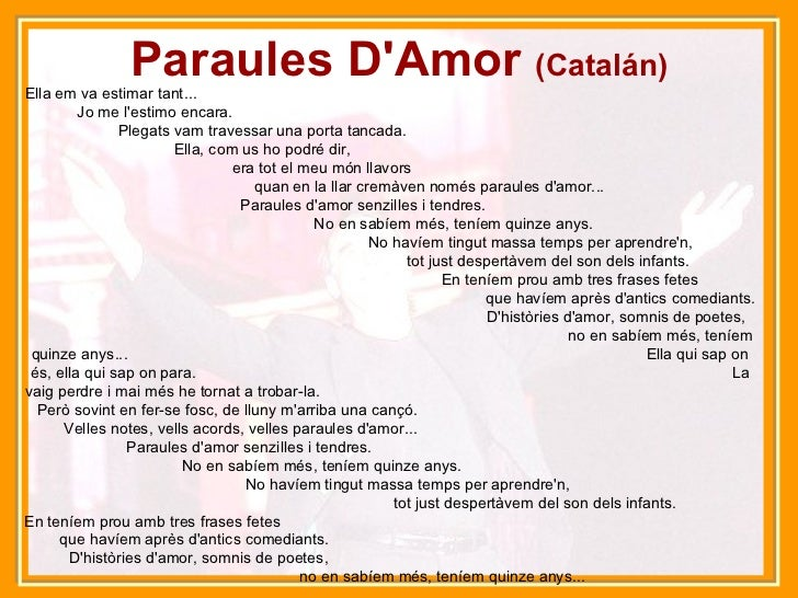 Joan manuel serrat musical - Amor en catalan ...