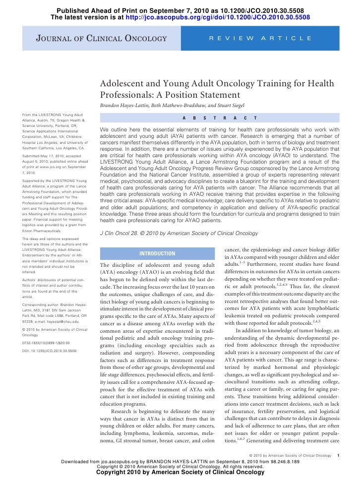 Published Ahead of Print on September 7, 2010 as 10.1200/JCO.2010.30.5508                  The latest version is at http:/...