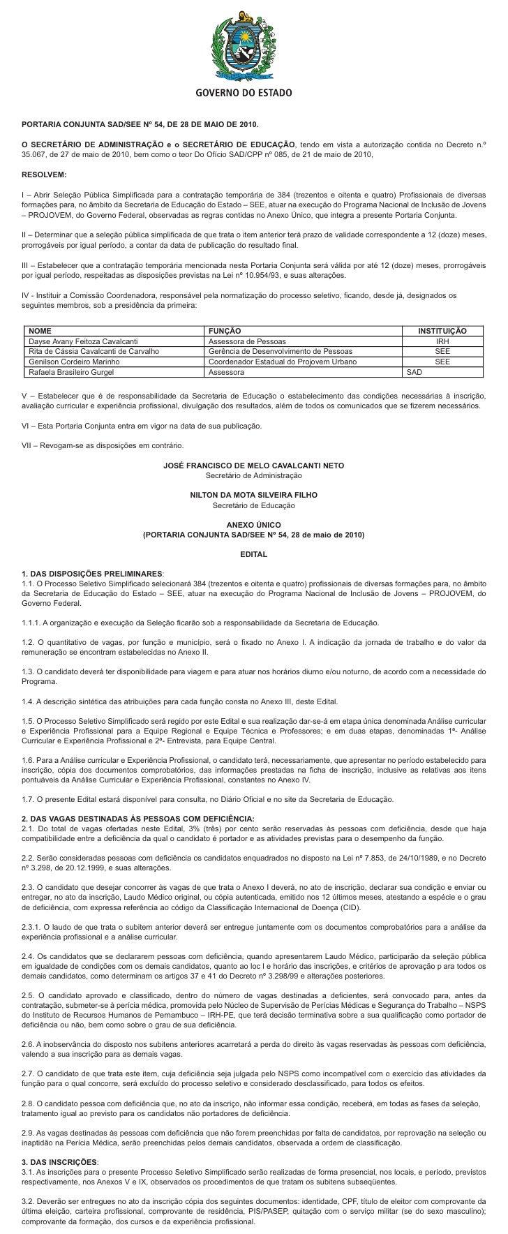 [JC Online] Edital - Concurso Secretaria de Educação - Projovem