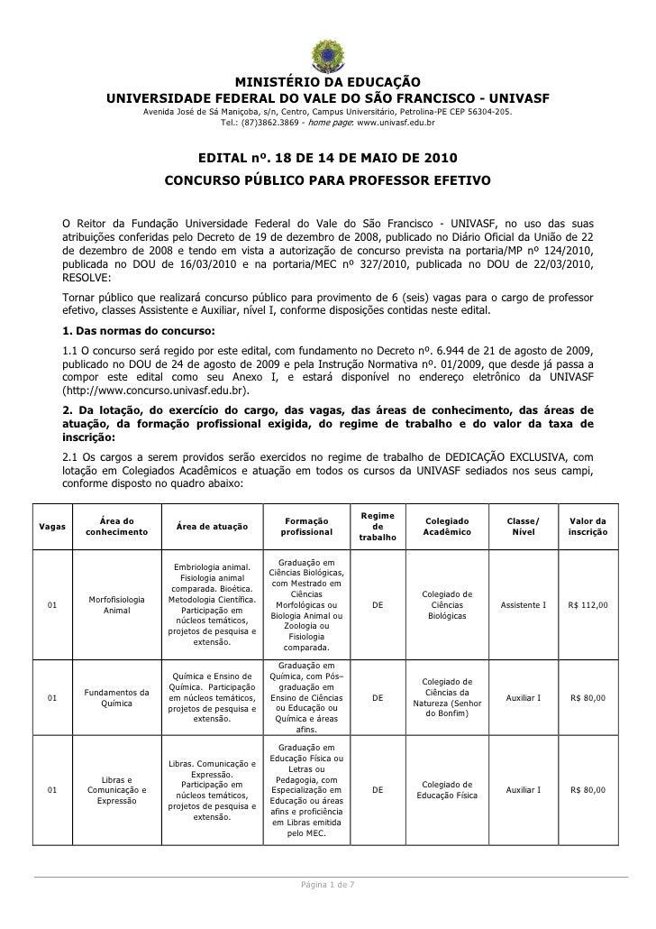 MINISTÉRIO DA EDUCAÇÃO                UNIVERSIDADE FEDERAL DO VALE DO SÃO FRANCISCO - UNIVASF                          Ave...