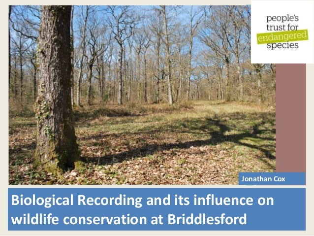 Biological Recording and its influence on wildlife conservation at Briddlesford Jonathan Cox