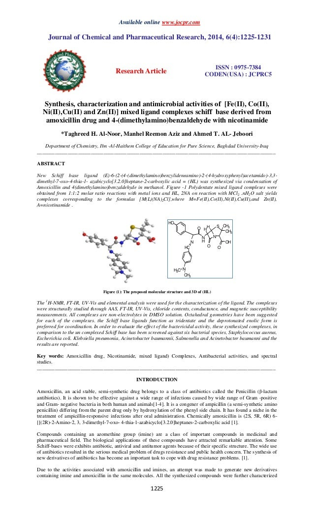 Available online www.jocpr.com Journal of Chemical and Pharmaceutical Research, 2014, 6(4):1225-1231 Research Article ISSN...