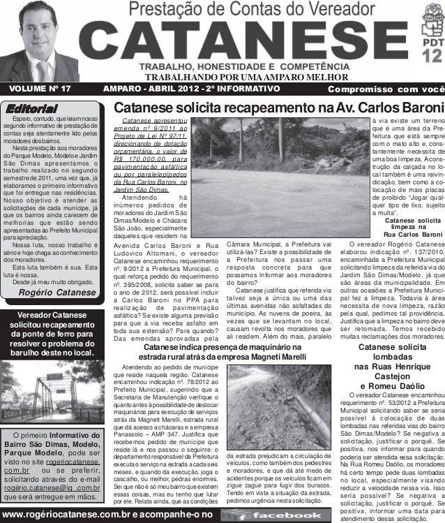 TRABALHANDO POR UMA AMPARO MELHOR  VOLUME Nº 17 AMPARO - ABRIL 2012 - 2º INFORMATIVO Compromisso com você  Editorial  Espe...