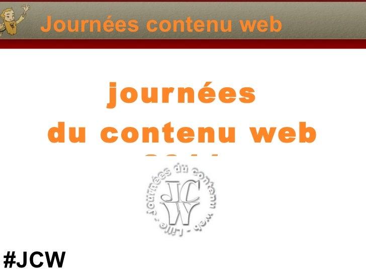 Journées contenu web journées du contenu web 2011