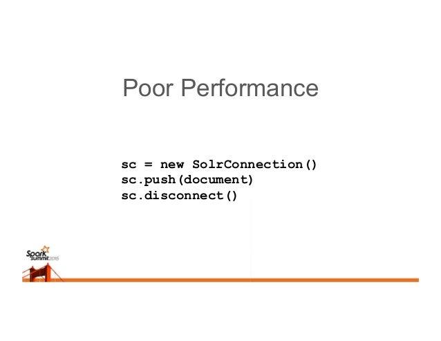 Optimum Performance joinedRDD = … sc = new SolrConnection() joinedRDD.foreach() document = … // build document sc.push(doc...