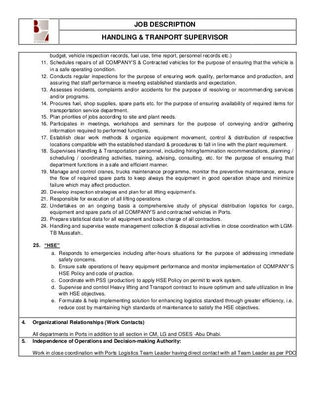 operations supervisor job description design templates print. job ...