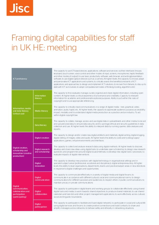 Framing digital capabilities for staff in UK HE: meeting ICT proficiency The capacity to use ICT-based devices, applicatio...