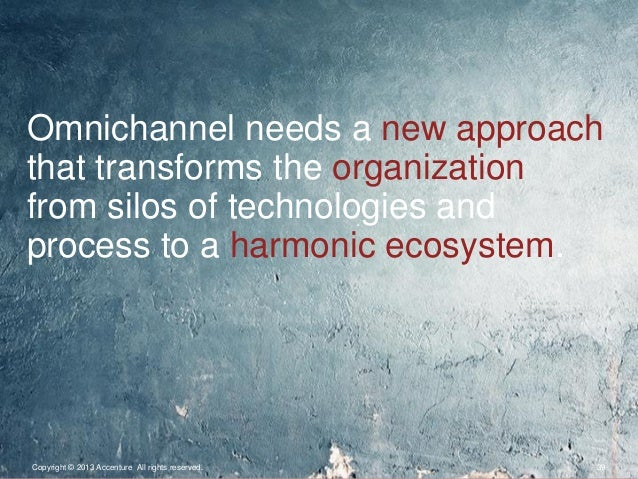 Copyright © 2013 Accenture All rights reserved. 39Omnichannel needs a new approachthat transforms the organizationfrom sil...