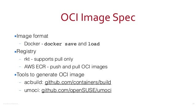 ©2016CouchbaseInc. OCIImageSpec ▪Image format – Docker - docker save and load ▪Registry – rkt - supports pull only – A...