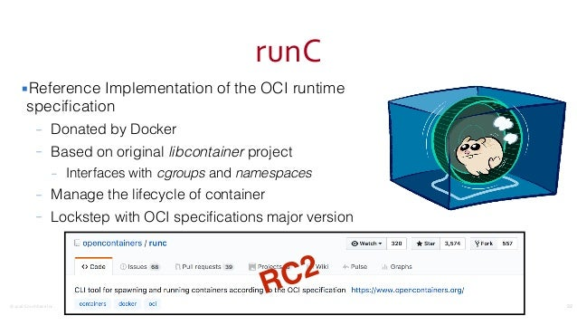©2016CouchbaseInc. runC ▪Reference Implementation of the OCI runtime specification – Donated by Docker – Based on origina...
