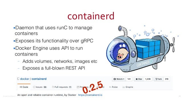 ©2016CouchbaseInc. containerd ▪Daemon that uses runC to manage containers ▪Exposes its functionality over gRPC ▪Docker E...