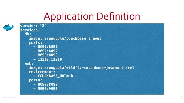 "©2016CouchbaseInc. ApplicationDefinition 37 version: ""3"" services: db: image: arungupta/couchbase:travel ports: - 8091:8..."