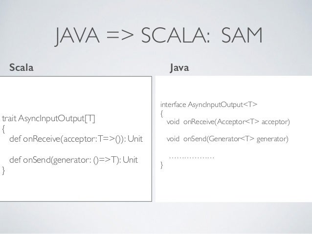 JAVA => SCALA: SAM trait AsyncInputOutput[T] { def onReceive(acceptor:T=>()): Unit def onSend(generator: ()=>T): Unit } in...