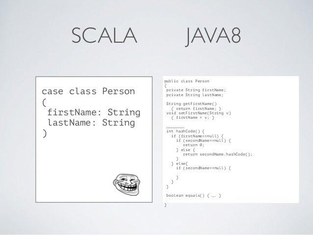 SCALA JAVA8 public class Person { private String firstName; private String lastName; String getFirstName() { return firstN...
