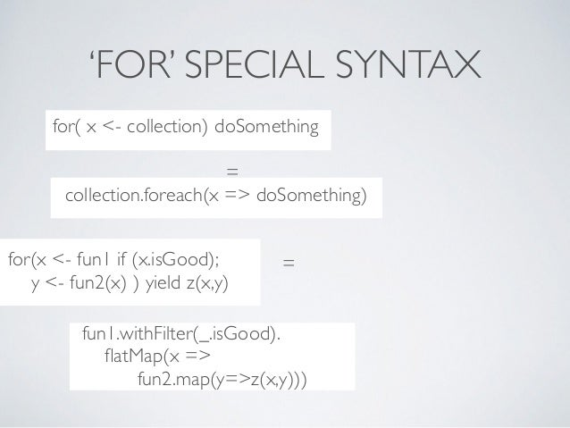 ..??***8dccollection.foreach(x => doSomething) 'FOR' SPECIAL SYNTAX ..??***8dcfor( x <- collection) doSomething = ..??***8...