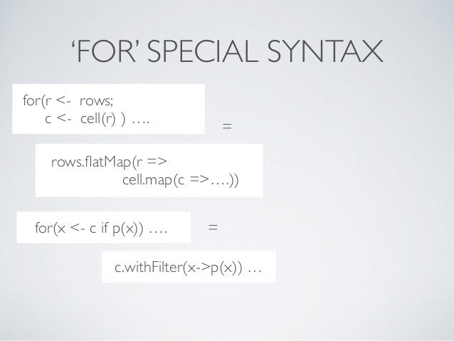 'FOR' SPECIAL SYNTAX ..??***8dc = ..??**8dc for(r <- rows; c <- cell(r) ) …. rows.flatMap(r => cell.map(c =>….)) ..??***8dc...