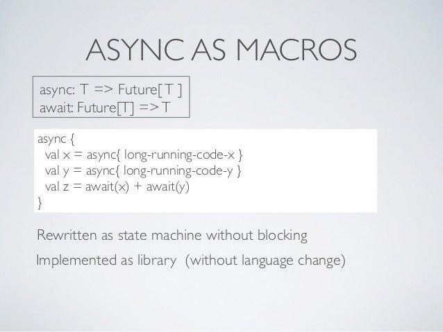 ASYNC AS MACROS ..??***8dc async { val x = async{ long-running-code-x } val y = async{ long-running-code-y } val z = await...