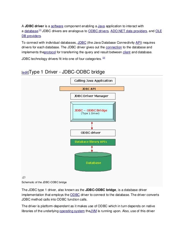 A JDBC driver is a software component enabling a Java application to interact witha database.[1] JDBC drivers are analogou...