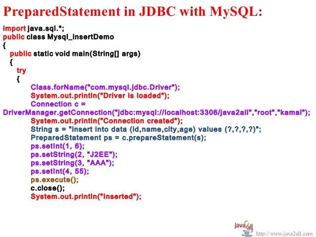 Jdbc example program with access and mysql.